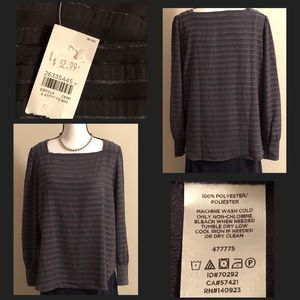 Lovely Grey/Dark Grey Striped Blouse The Loft (L)